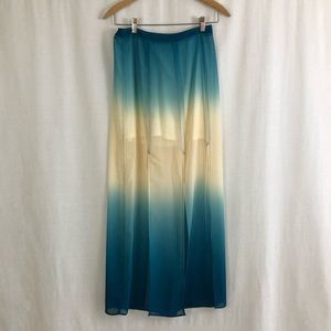 Ombre Maxi Skirt With Slits
